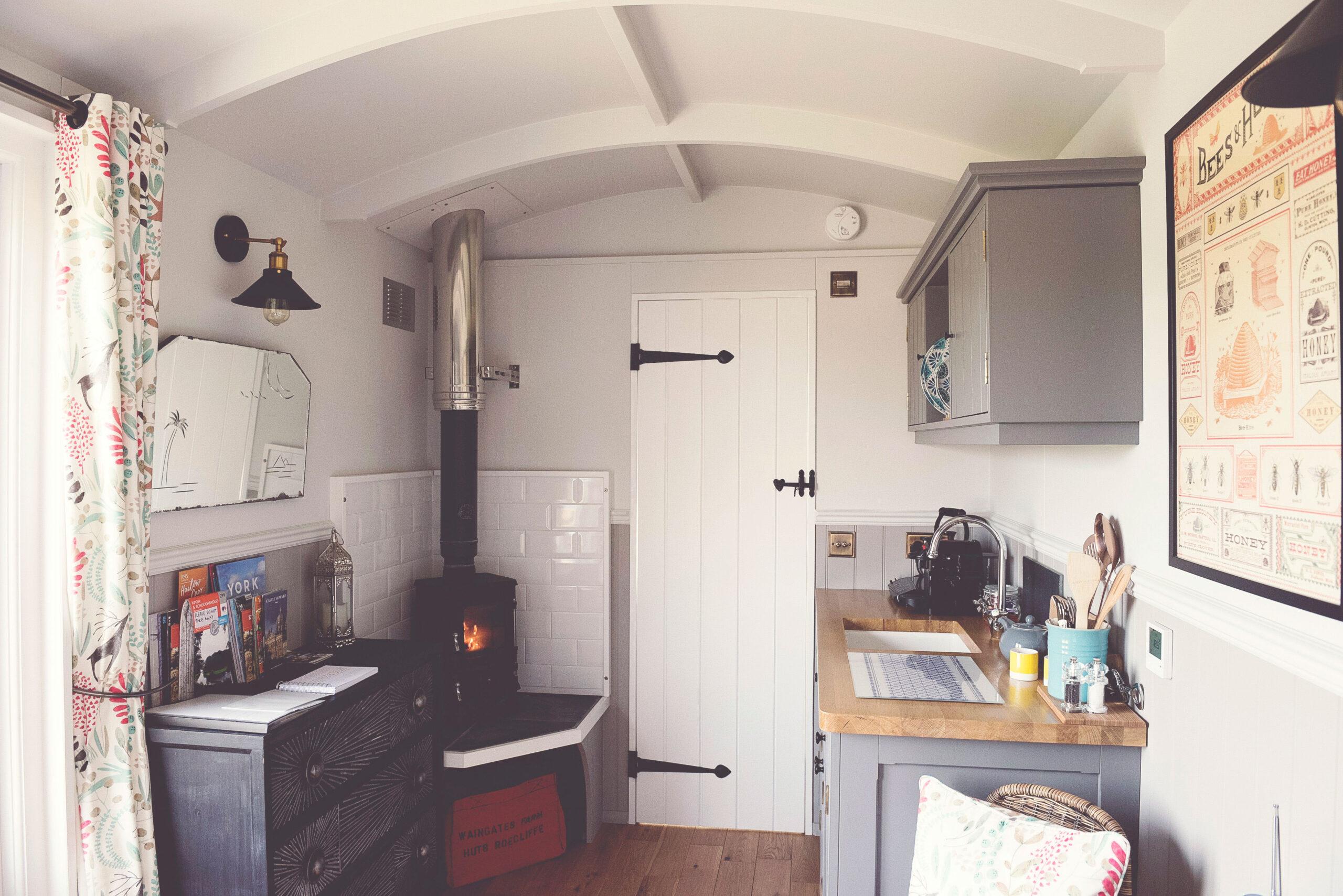 Shepherd Hut 2 - kitchen area